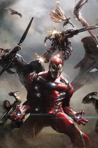 Captain Vs Iron Man Team Artwork