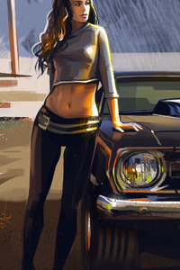 Car And Girl Artwork