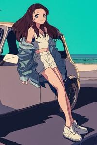 Car Beach Jacket Anime