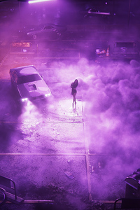 Car Drifting Girl Ballerina Synthwave 4k