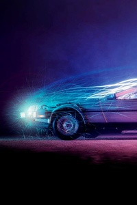 1242x2688 Car Lights Flame Back To The Future