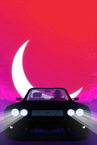 Car Ride At Moon Night Minimalism