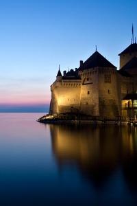 Castle Of Chillon Landscape Reflection