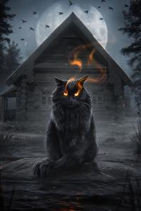 1440x2960 Cat Fire Eyes