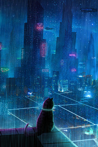 Cat Rain Dream Cyberpunk City 4k