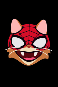 1280x2120 Cat Spiderman Minimal 4k
