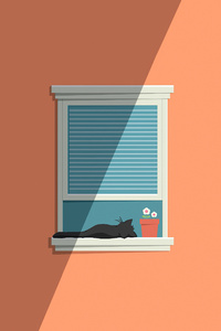 1125x2436 Cat Window Minimal 5k