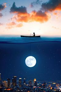 1080x1920 Catching The Moon In Ocean 5k