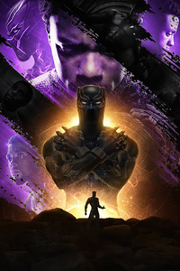 240x320 Chadwick Boseman Black Panther Fan Art 4k