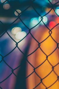 Chain Fence Long Exposure Orange Blue Blur 4k