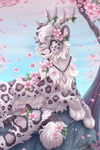 240x400 Cherry Blossoms Leopard