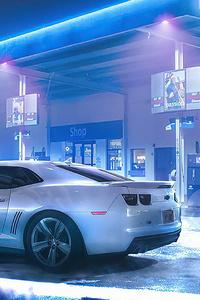 1125x2436 Chevrolet Camaro At Glowing Station