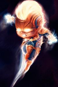 Chibi Captain Marvel 4k Artwork