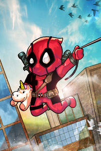 1280x2120 Chibi Deadpool 4k