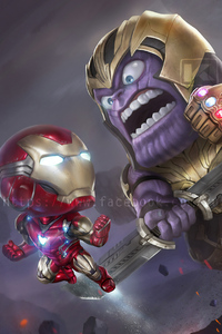 Chibi Iron Man And Thanos