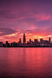 Chicago Buildings Evening Lights Skycrapper Sunrise