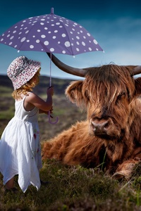 1080x2160 Child Cow Umbrella 5k