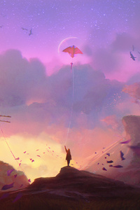 1280x2120 Child Flying Kite Fantasy Digital Art