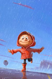 Child Playing In Rain Digital Art