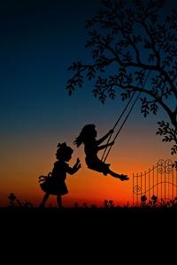 Children Play Swing Evening Sky
