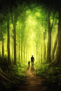 1080x1920 Children Walking With Dad Journey To Forest