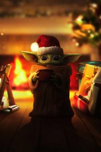 1242x2688 Christmas Grogu 5k