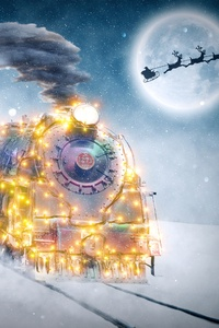 640x960 Christmas Motif Train Children