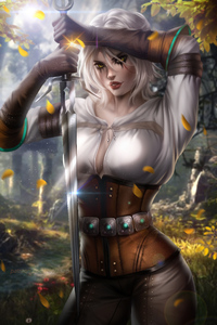 480x854 Ciri Witcher 3 Art