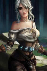 1080x2160 Ciri Witcher 3 Fantasy Art 4k