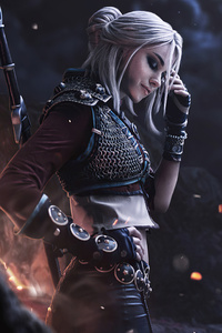 1280x2120 Ciri Witcher Cosplay 4k