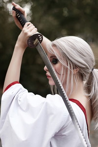 1440x2560 Ciri Witcher Samurai Cosplay 4k