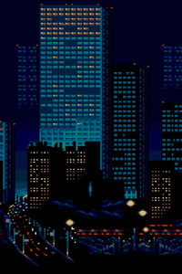 320x568 City Buildings Lights 8 Bit