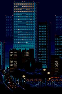 1280x2120 City Buildings Lights 8 Bit
