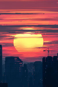 City Buildings Lunar Sunset