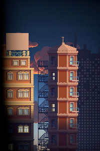 540x960 City Buildings Pixel Art 4k