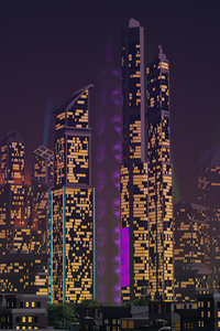 480x854 City Buildings Retrowave 4k