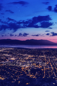 City Dreamscape Lights Night Moon Mountains