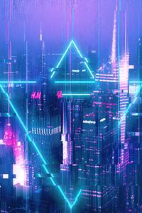 1242x2688 City Glitch 4k
