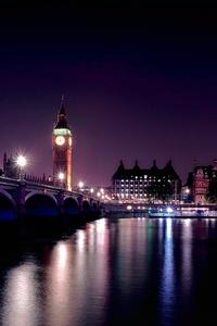 City Lights Clock Tower Bridge Night 4k