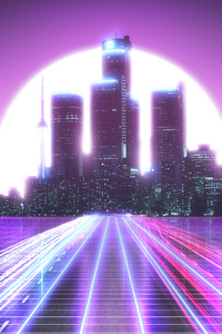 City Lights Long Exposure Synthwave 5k