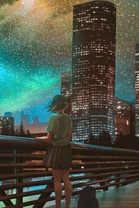 360x640 City Night Anime Girl Watching 4k