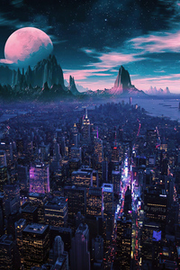 City Nights Moon 4k
