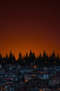 320x480 City Of Lights Houses And Trees Dark Evening 5k