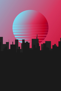 640x1136 City Retrowave Minimal 4k