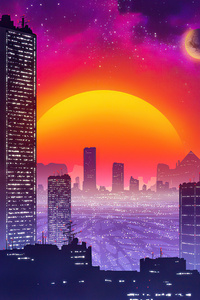 City Retrowave Sunset 5k