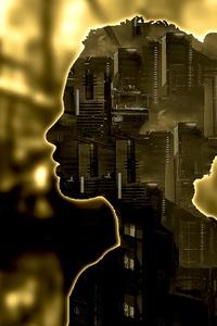 1440x2960 City Silhoutte Face Portrait 5k