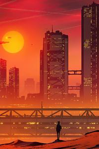 320x480 City Sun Down 4k