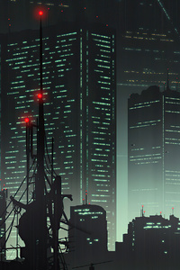 480x854 Cityscape 80s Anime 4k