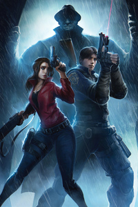 2160x3840 Claire Redfield And Leon Resident Evil 2 Art 4k