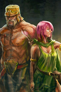 240x400 Clash Of Clans Artwork Archer And Barbarian